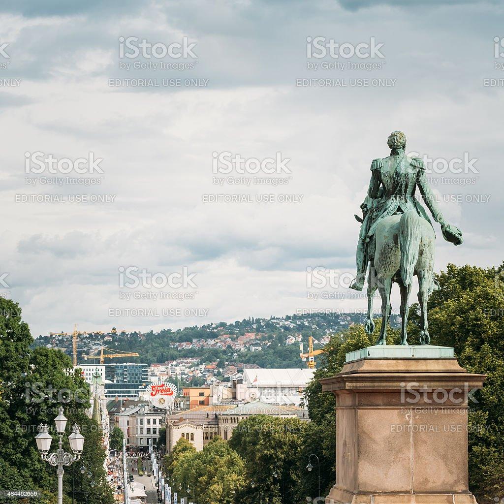 Statue of Norwegian King and street Karl Johans Gate stock photo