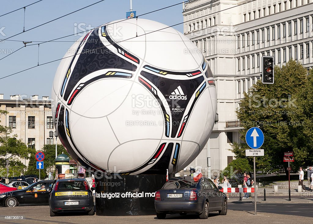 Statue of official Euro 2012 football ball Adidas Tango 12 stock photo