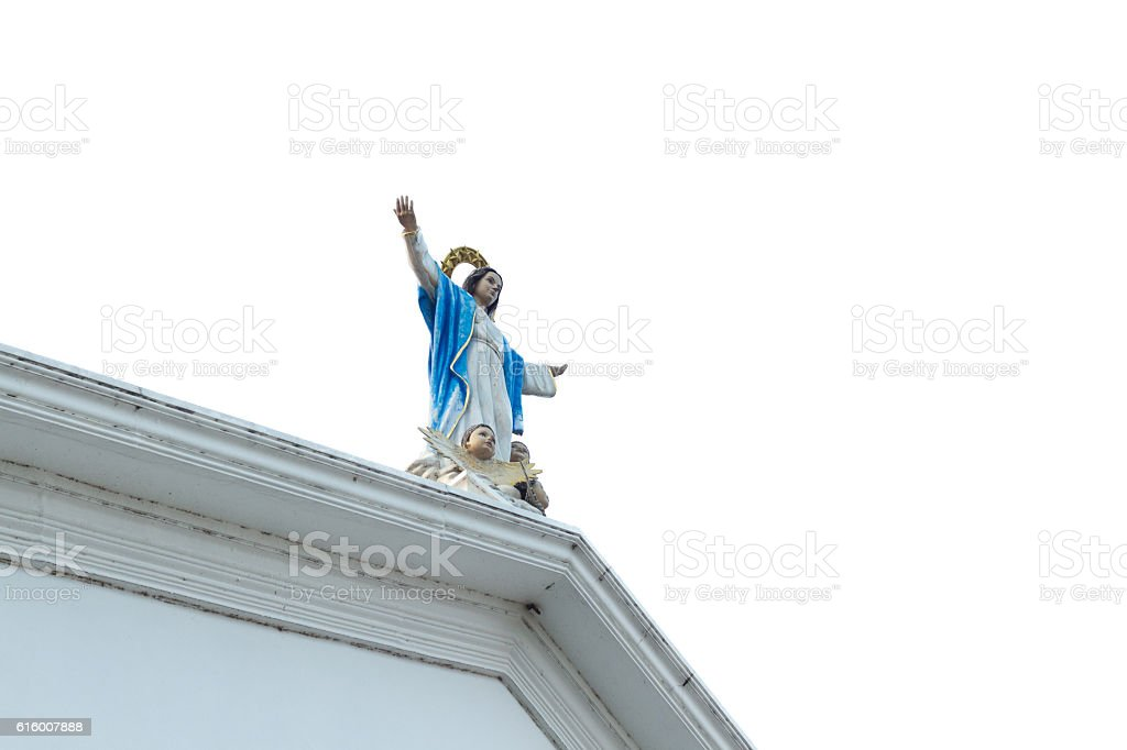 Statue of Our Lady with baby angles stock photo