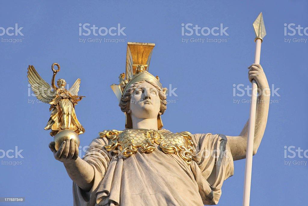 Statue of Pallas Athena in Vienna, Austria stock photo