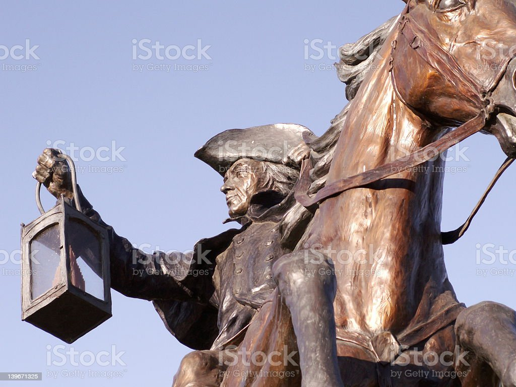 a statue of paul revere on a horse stock photo more pictures of