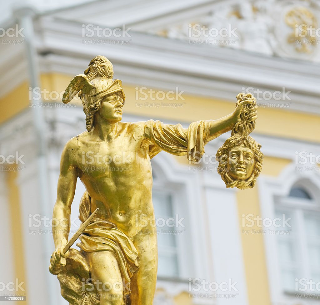 Statue of Perseus with gorgon Medusa's head, Petergof, Russia stock photo