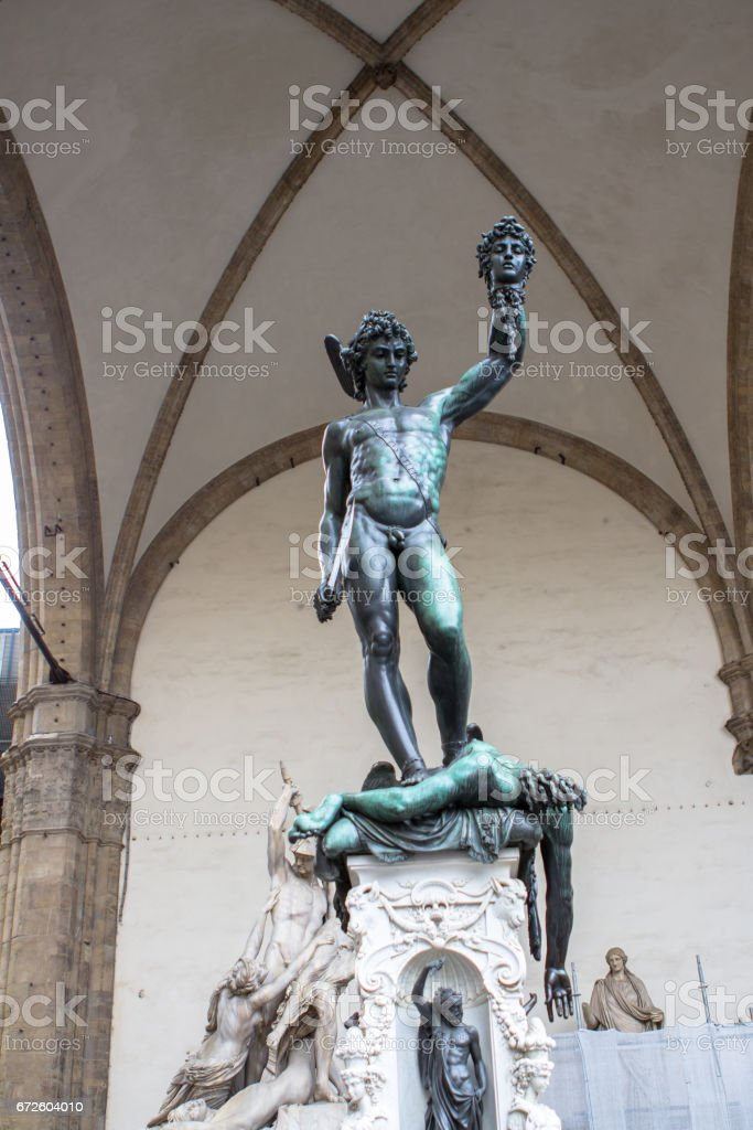 Statue of Perseus with the Head of Medusa, Florence, Italy stock photo