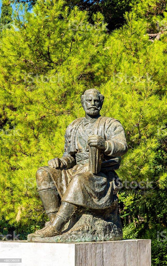 Statue of Petar II Petrovic-Njegos in Podgorica - Montenegro stock photo