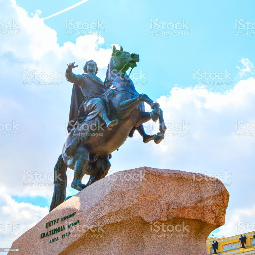 Statue of Peter the Great in Saint Petersburg stock photo