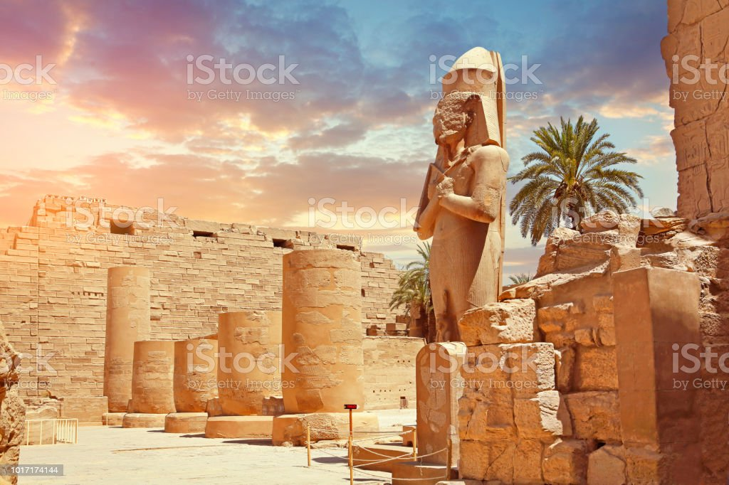 Statue Of Pharaoh At Karnak Temple stock photo