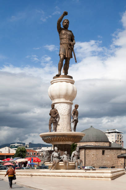 Statue of Philip II of Macedonia on top of a fountain in Skopje stock photo