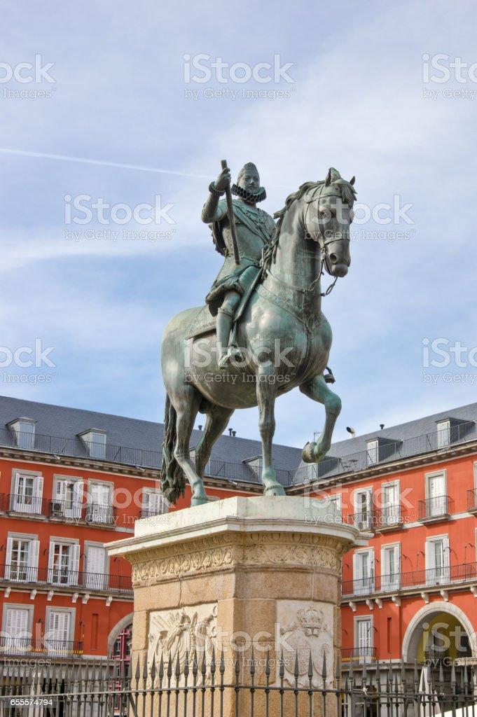 Statue of Philip III on Plaza Mayor in Madrid, Spain stock photo