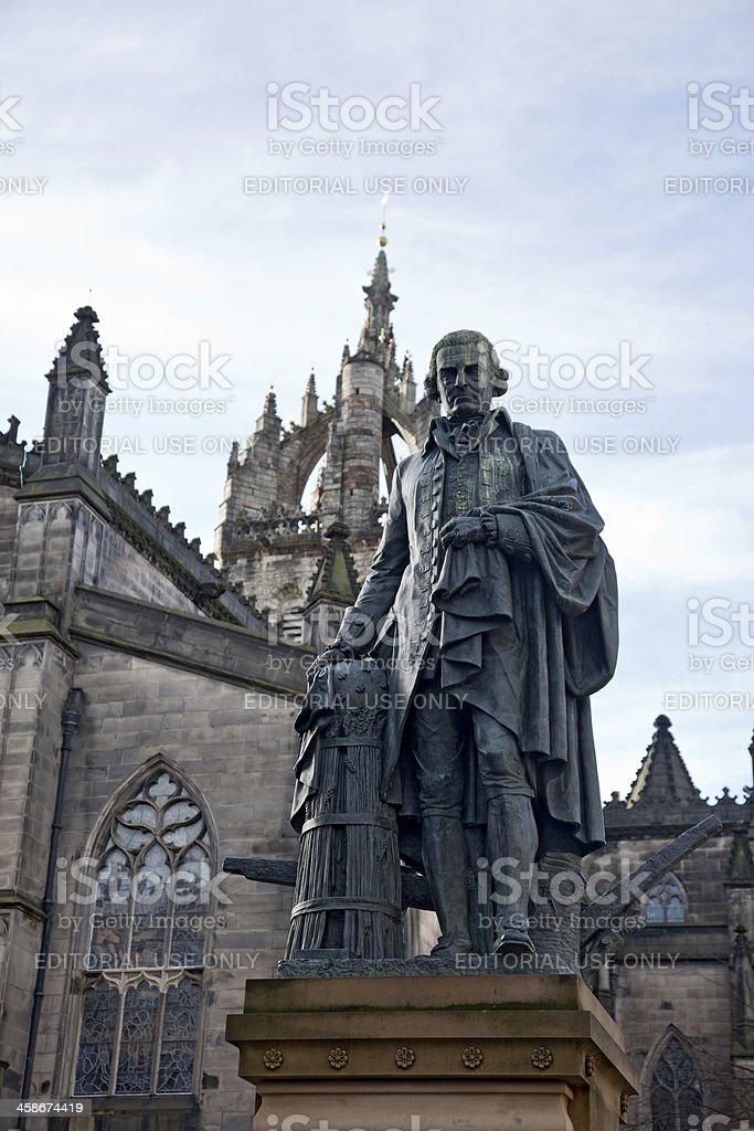 Statue of philosopher and economist Adam Smith, Ednburgh royalty-free stock photo