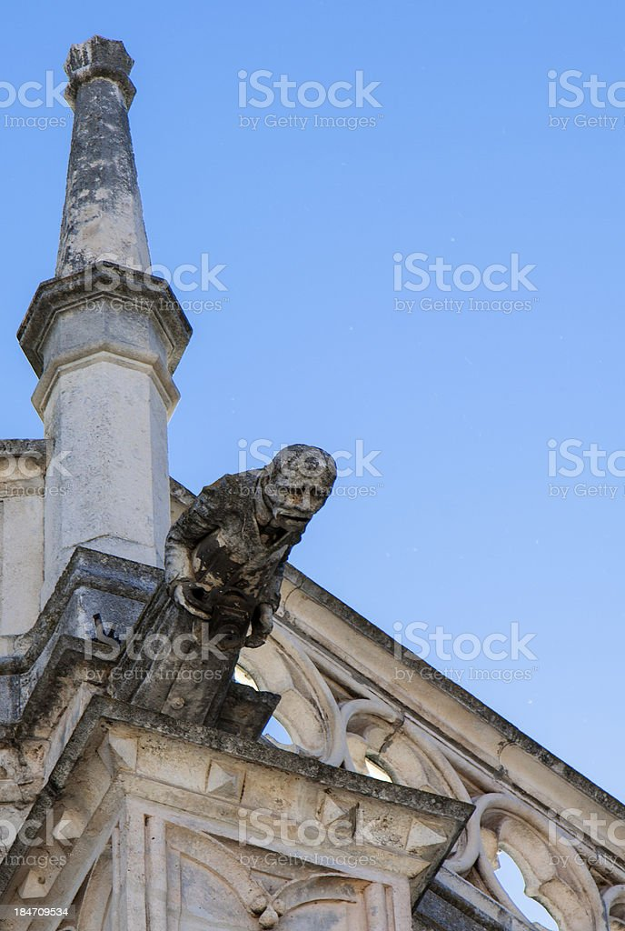Statue of photographer as a gargoyle royalty-free stock photo