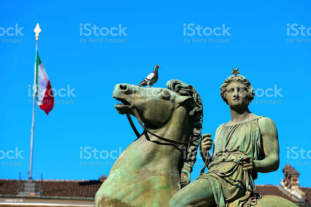 Statue of Pollux - Torino Italy stock photo