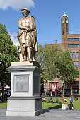 Amsterdam, Netherlands - July 12, 2012. Statue Of Rembrandt at Rembrandtplein, a major square in central Amsterdam, the Netherlands, named after the famous painter Rembrandt  who owned a house nearby