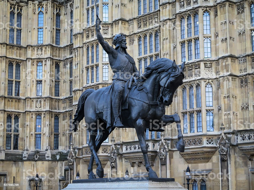 Statue of Richard the Lionheart outside the Houses  Parliament, London. stock photo