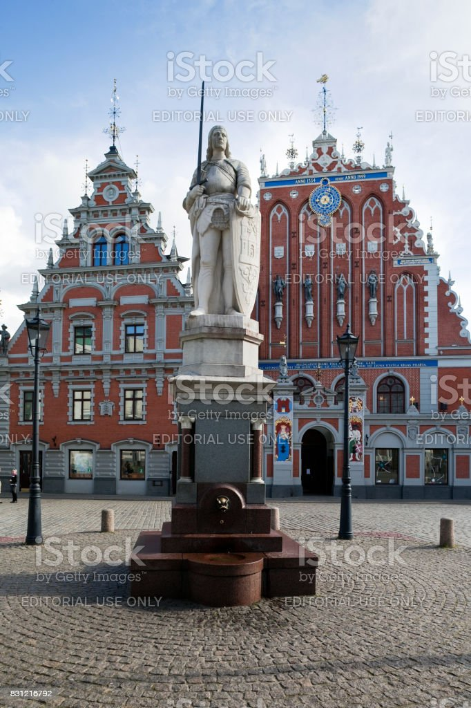 Statue of Roland in the Riga Town Hall Square stock photo