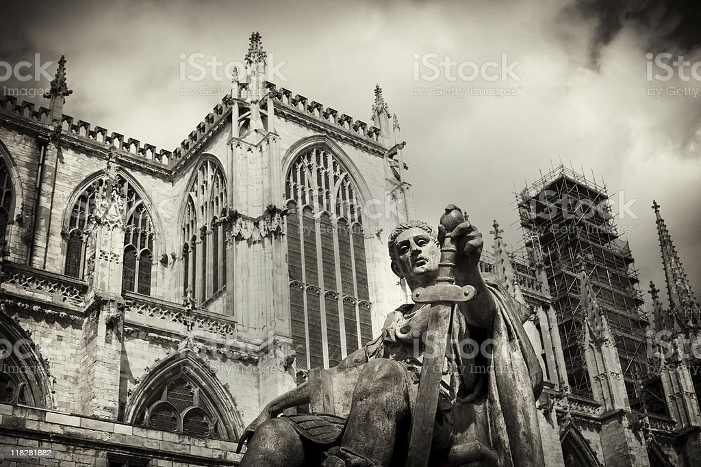 Statue of Roman Emperor Constantine the Great, York Minster stock photo