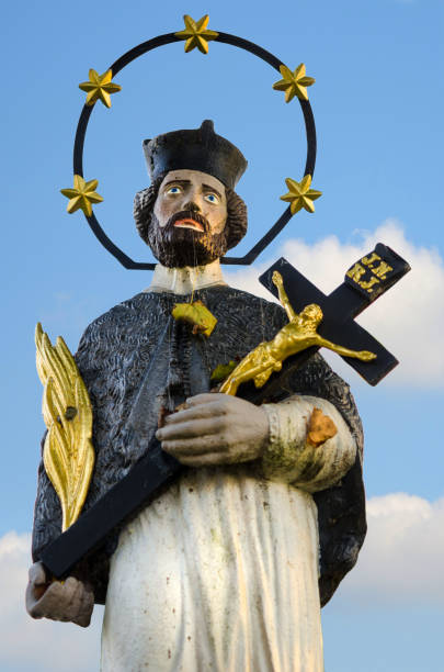Statue of Saint John of Nepomuk in the Czech countryside, Europe stock photo
