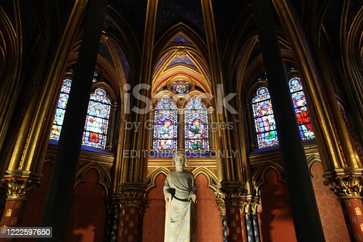 Europe. France. Ile-de-France. Paris. 04/08/2012. This colorful image depicts the Holy Chapel. Saint Louis IX commonly Saint Louis.