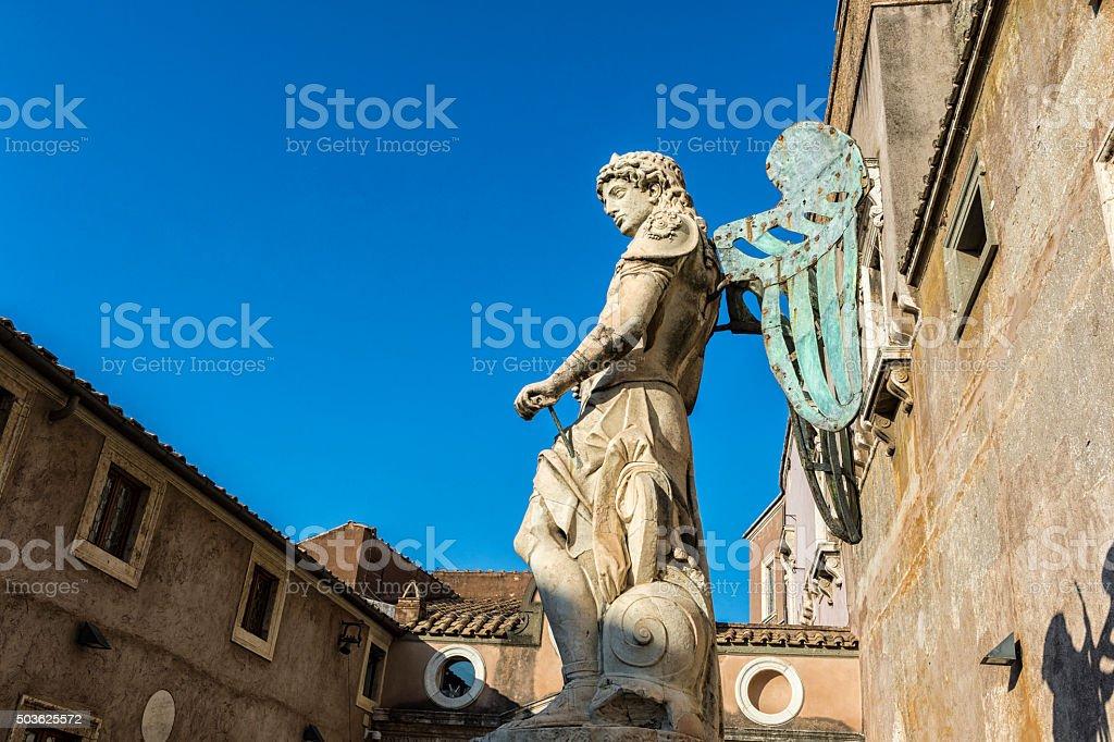 Statue of Saint Michael stock photo
