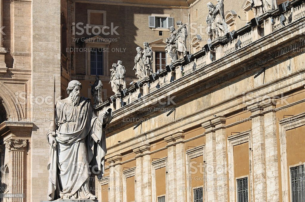 Statue of Saint Paul the Apostle in Vatican royalty-free stock photo
