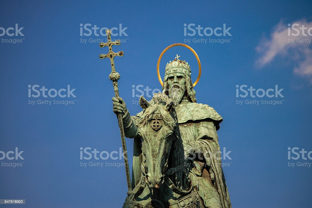 Statue of Saint Stephen in Budapest stock photo