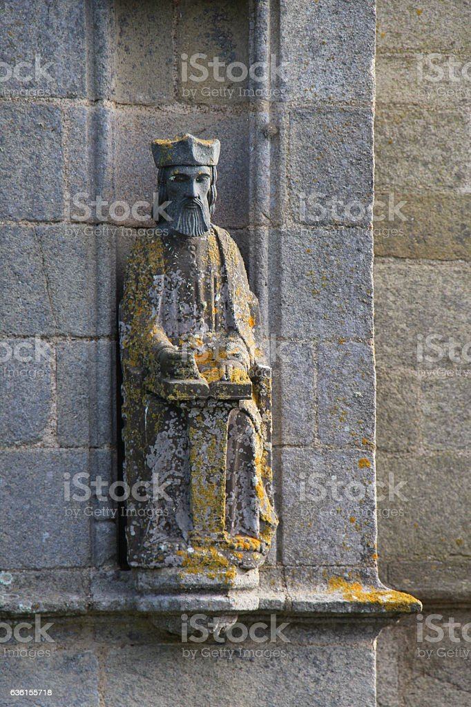 Statue of Saint Tugen chapel in Primelin stock photo