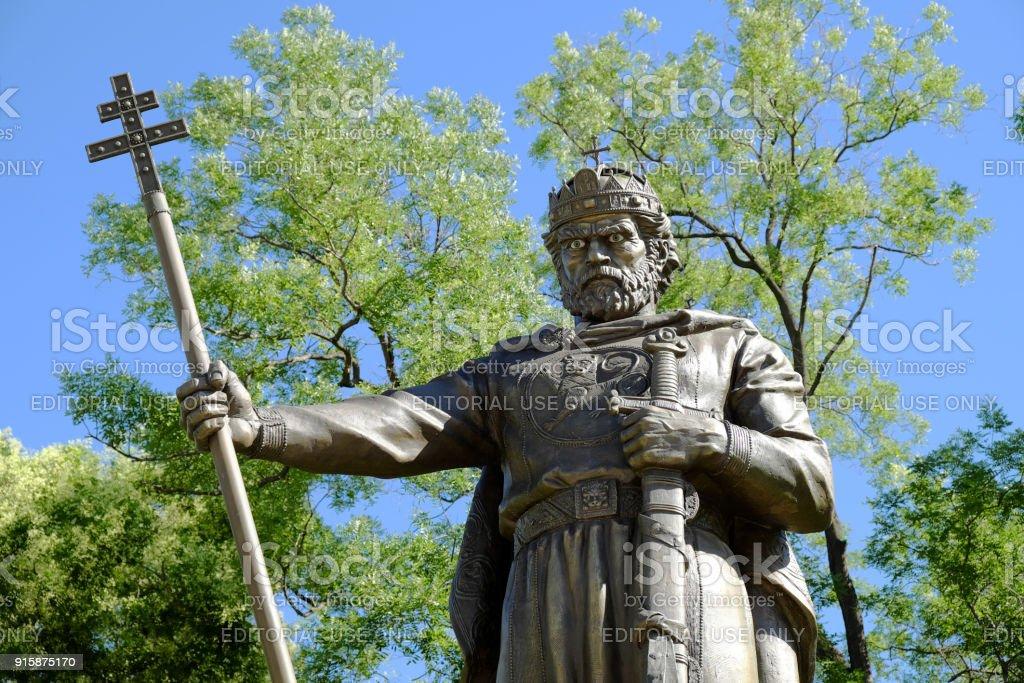 statue of Samuil Tsar in Sofia stock photo