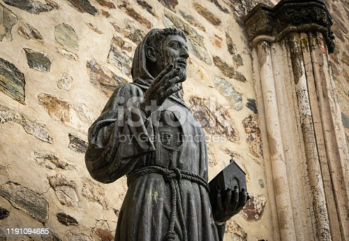 Statue of San Francisco de Asis outside the Franciscan monastery of Guadalupe, a World Heritage Site, in Extremadura