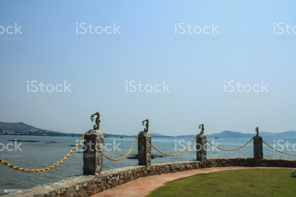 statue of seahorse on blue sky at public beach,Thailand stock photo