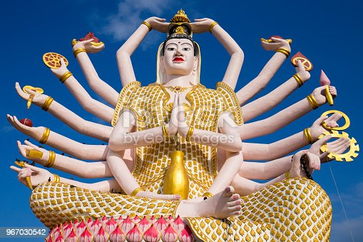 Wat Plai Laem temple with 18 hands God statue Guan Yin , Koh Samui, Surat Thani, Thailand.