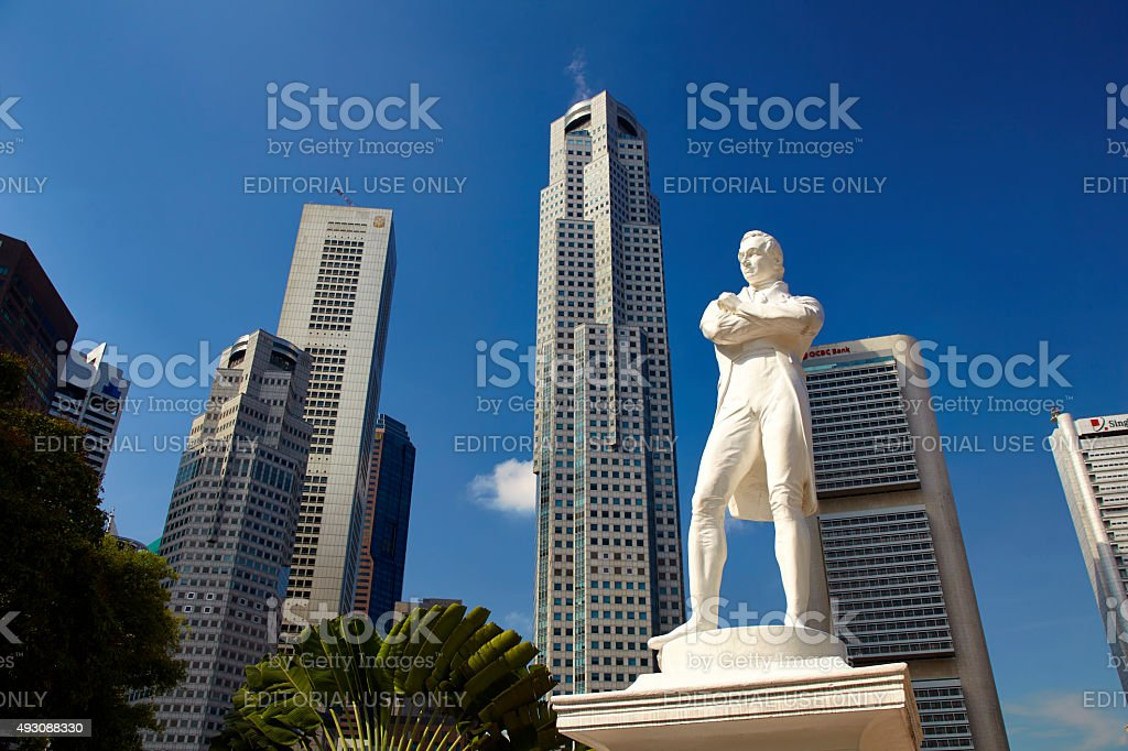 Statue Of Sir Stamford Raffles In Singapore stock photo