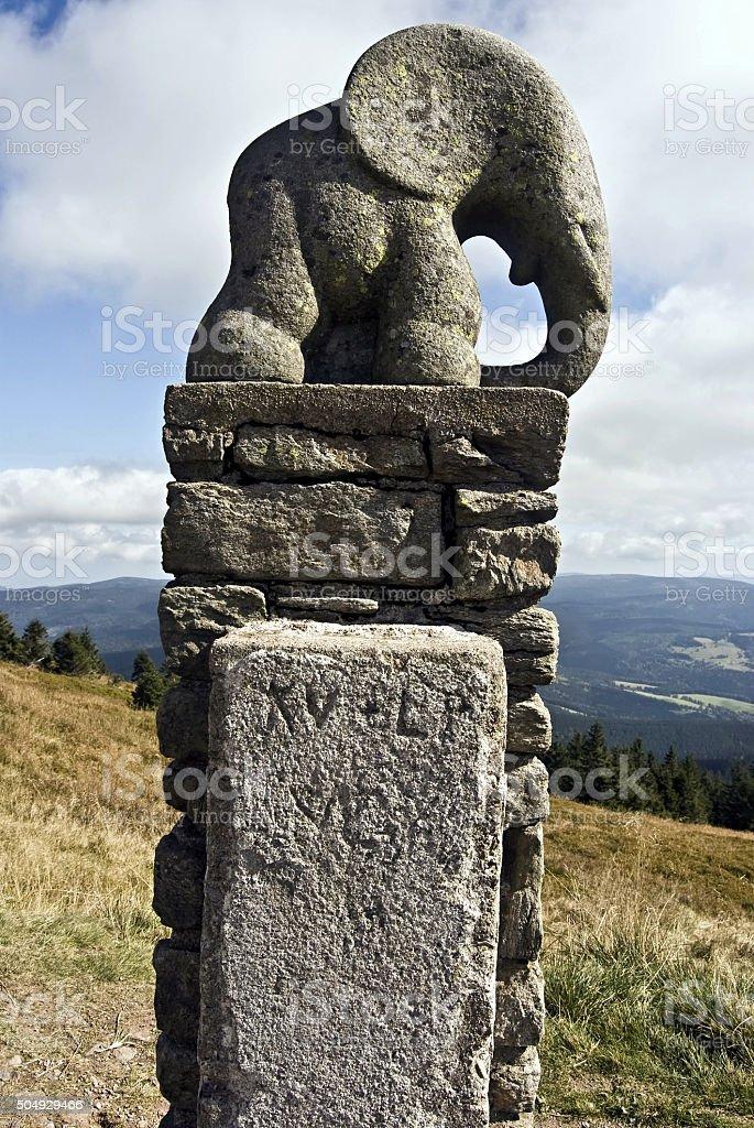 statue of small elephant on Kralicky Sneznik stock photo