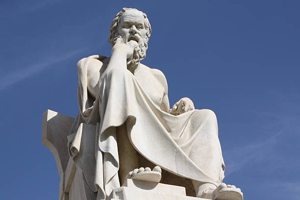 "Statue of Socrates in Athens, Greece ""Neoclassical statue of ancient Greek philosopher, Socrates, outside Academy of Athens in Greece."" ancient greece stock pictures, royalty-free photos & images"