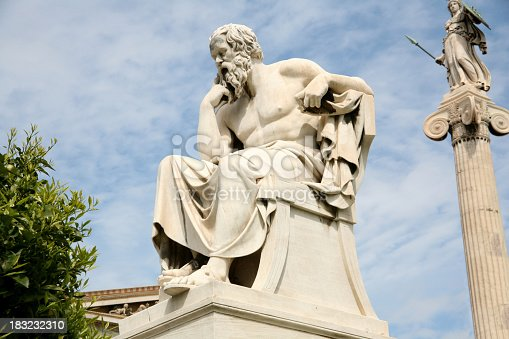 (469–399 BC), ancient Athenian philosopher. This is his statue, located before the Academy of Athens, Greece.