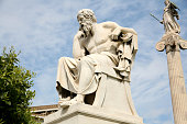 istock Statue of Socrates, the philosopher, with sky in distance 183232310