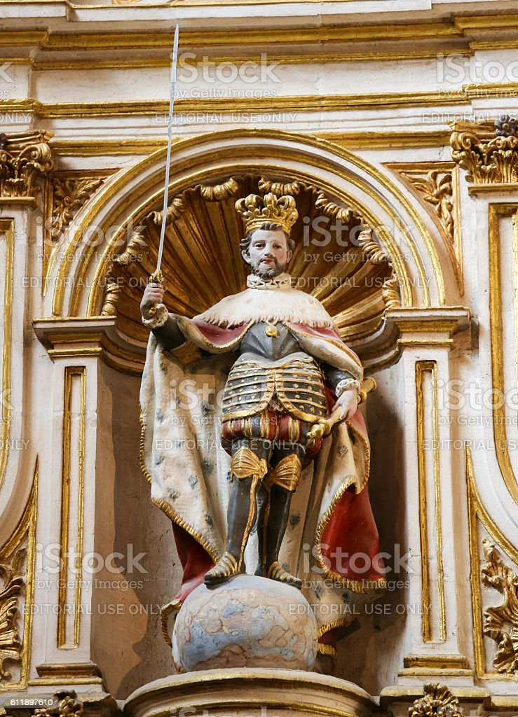 Statue of Spanish Emperor Carlos I in Cathedral of Burgos stock photo