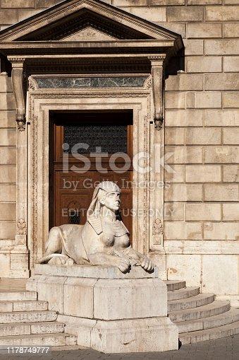 868668568 istock photo Statue of Sphinx guarding  -  Budapest 1178749777