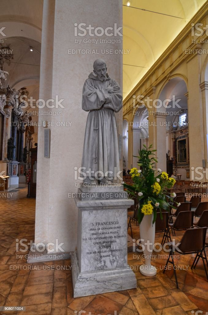 Statue of St. Francis of Assisi stock photo