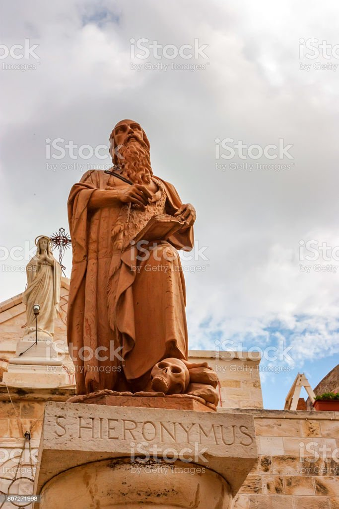 Statue of St. Jerome in Bethlehem stock photo