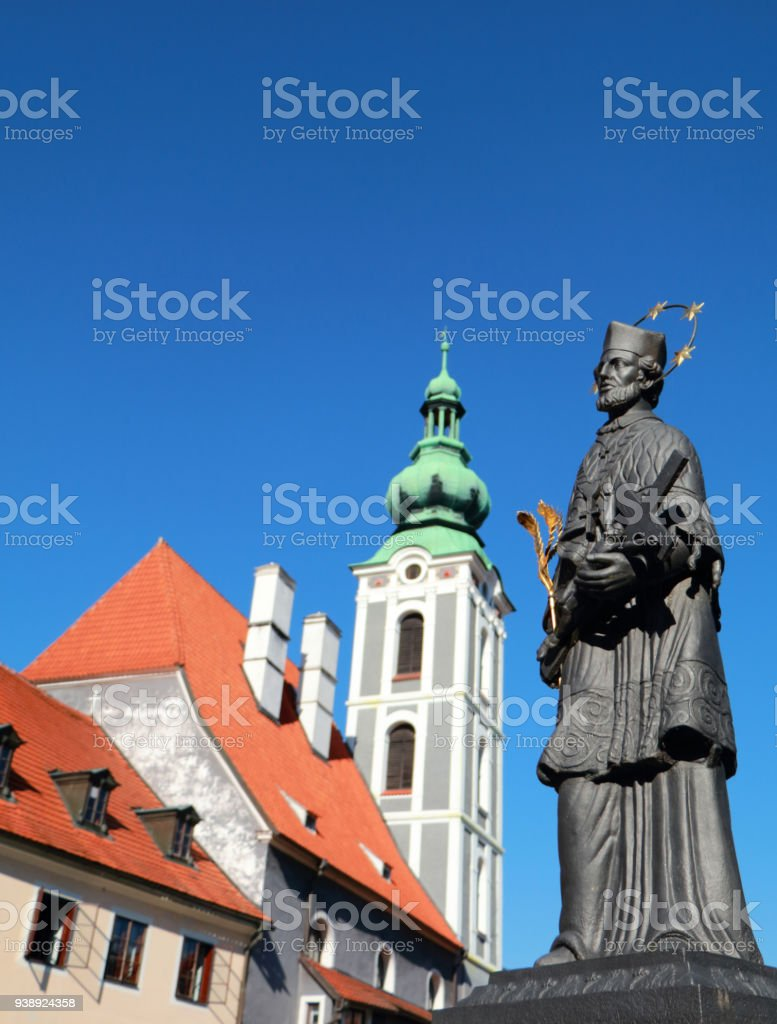 Statue of St. John Nepomuk in Cesky Krumlov stock photo