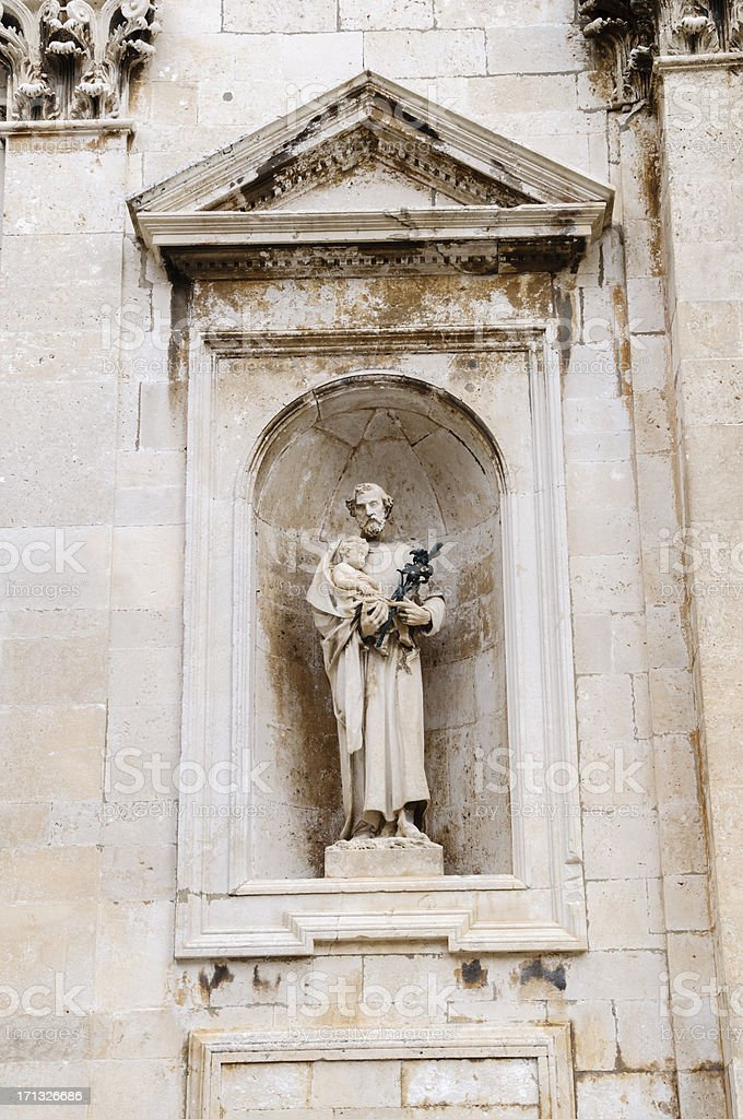 Statue of St. Joseph in Dubrovnik Cathedral stock photo