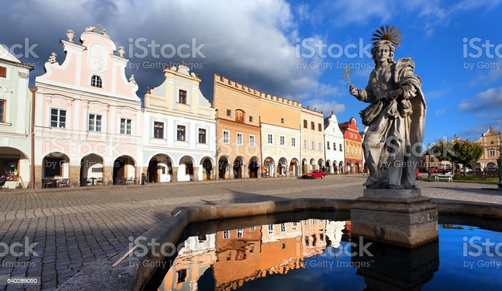 statue of st. Margaret on Telc or Teltsch town square stock photo