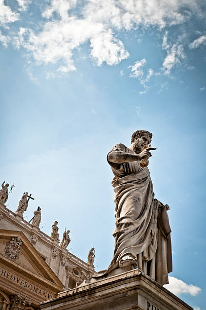statue of st peter in piazza san pietro - peter the apostle stock photos and pictures