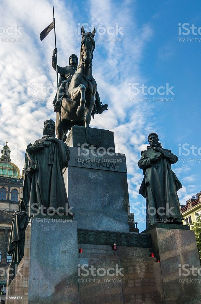 Statue of St. Wenceslas in Prague in the Czech Republic stock photo