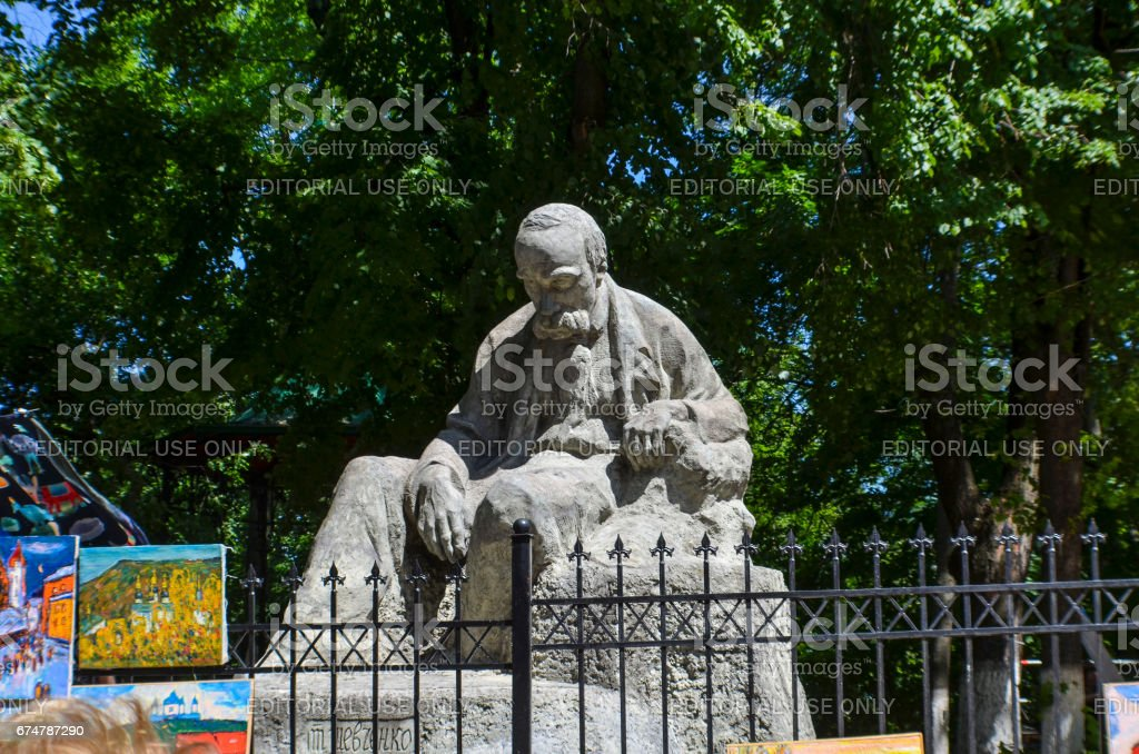 Statue of Taras Shevchenko, a famous Ukrainian poet, at Andriyivskyy Uzviz Descent or Spusk in downtown stock photo