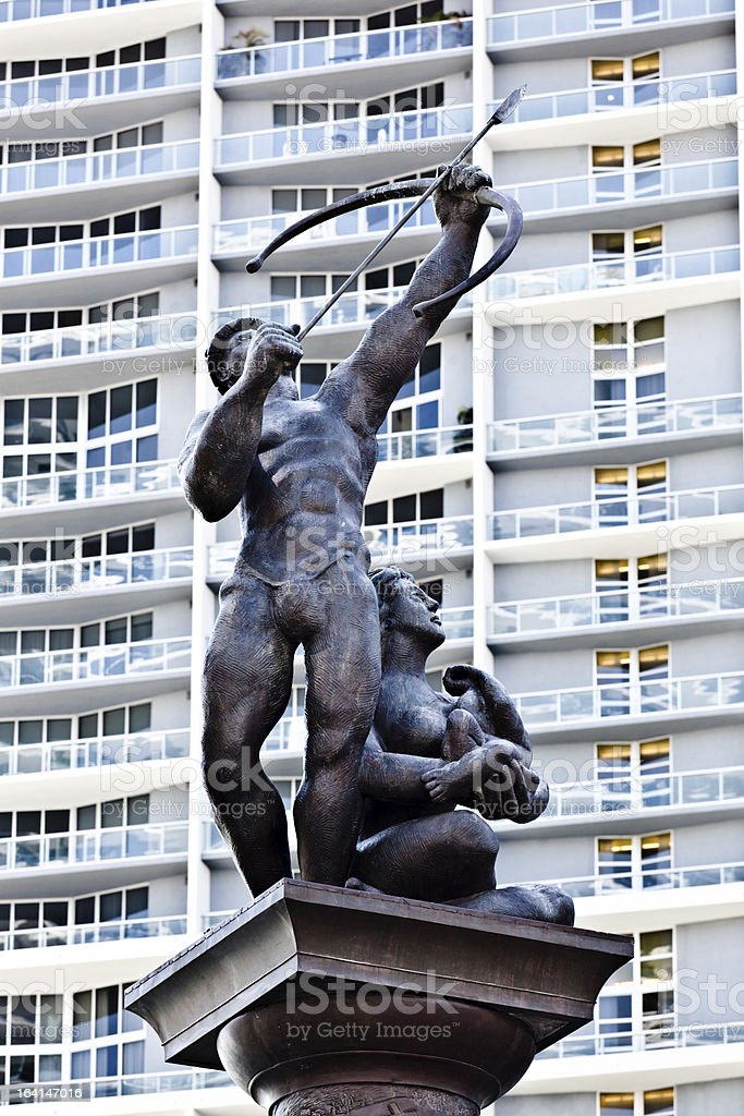Statue of Tequesta Indian Archer in Miami Downtown stock photo