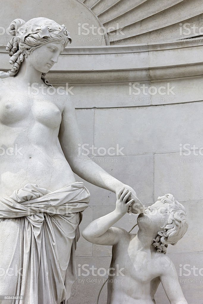 Statue of Tethys at the Lloyd Palace in Trieste stock photo