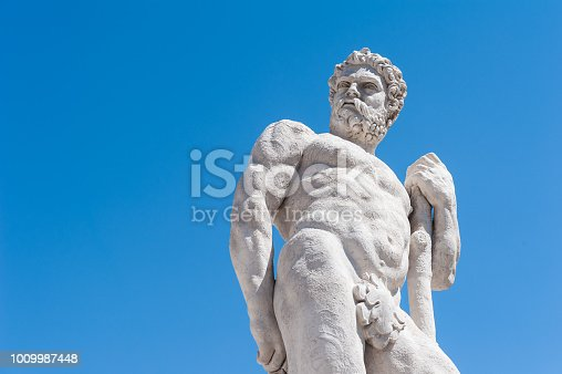 Statue of the 16 century. Statue of Hercules. Medieval art.