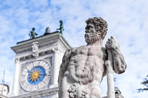 statue of the 16 century. statue of hercules. - udine stock-fotos und bilder