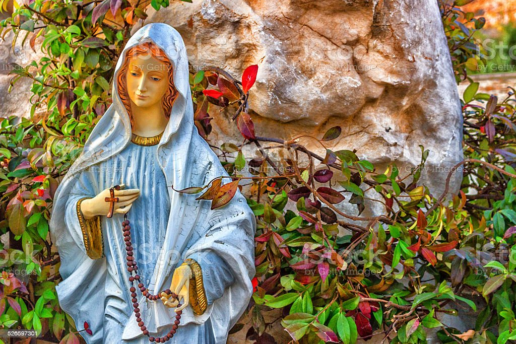 Statue of the Blessed Virgin Mary in Medjugorje stock photo