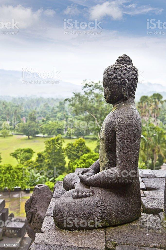 Statue of the Buddha from Borobudur on Java, Indonesia. stock photo